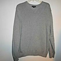 Mens Lands End Sweater Size Large (42-44) Light Gray Pullover Crew-Neck Cotton Photo