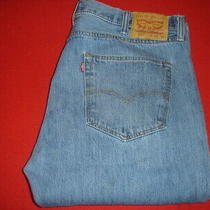 Mens Levi 501 Classic Straight Leg Button Fly Blue Jeans Size 40 X 34 Photo