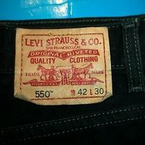 Mens Levis 550 Relaxed Fit  Black  Jeans Size 42 X 30  .611 Photo