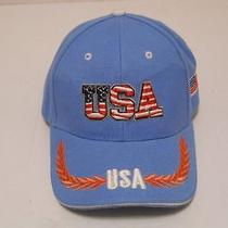 Mens Ligh Blue Patriotic Baseball Hat/cap u.s.a Adjustable Velcro Strap Photo