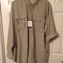 Mens Long Sleeve Fishing Shirt Size 4xl Color Fossil / Taupe Nwt Photo