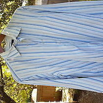 Mens Long Sleeve Shirt Express Flip Cuff Classic Fit Floral Blue Striped L Photo