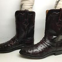 Mens Lucchese Classics Western Roper Ostrich Skin Burgundy Boots Size 10.5 2e Photo