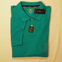 Mens Macys Club Room Golf Estate Solid Aqua Capri Breeze Ss Polo Shirt Large Photo