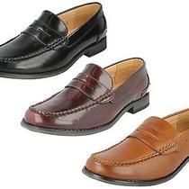 Mens Maverick Slip on Saddle Trim Low Heel Hi Shine Formal Moccasins Shoes A1118 Photo