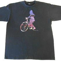 Mens Navy Blue Volcom T Shirt Sz Xl Girl on Beach Cruiser Bicycle Guc Sunset Photo