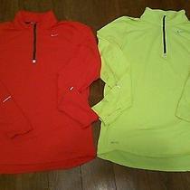 Mens Nike Element Running Shirts (2)  Size Medium  Dri-Fit  Red/yellow  Photo