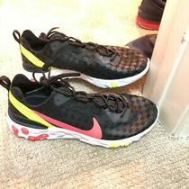Mens Nike React Element 55 Black Crimson Volt Running Shoes - Size 10 Photo