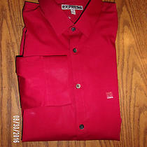 Mens Nwot Express Fitted Red  With Black Dot Trim Dress Shirt  Sz L Photo