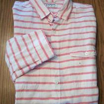 Mens Nwot Express Linen / Cotton  Soft Red Stripe Casual Dress Shirt  Sz L Photo