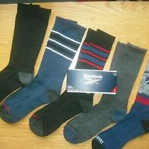 Mens Nwt Reebok Crew Socks 5prs Black Blue Grays Arch Support Cushion Szl(8-12) Photo