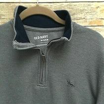 Mens Old Navy Shirt Thermal Knit Medium 1/4 Zip Gray Soft Long Sleeves   D Photo