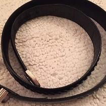 Mens Onyx by Brighton Black Leather Belt Silver Tone Buckle and Tip Size 36 Photo