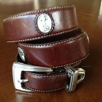 Mens Onyx by Brighton Brown Leather Belt Golf Themed Size 34 Good Shape Photo
