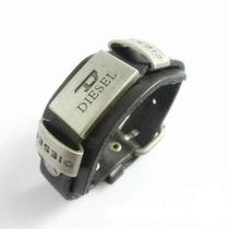 Mens or Womens Diesel Leather Bracelet - Black  - Very Cool Style - New Photo