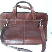 Mens or Womens Fossil Computer Case Briefcase Brown Leather Rem Strap Euc  Photo