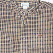 Mens Orange/black Plaid Carhartt Work Dress Shirt Size M Photo