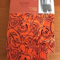 Mens Orange Pumpkin Designed Slim Fit Boxer Orange & Black Small Photo