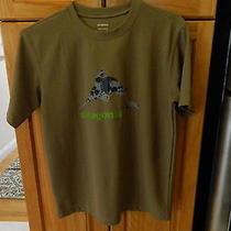 Mens Patagonia Athletic Shirt Short Sleeve Brown Medium Nwot Fish Logo Photo