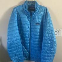 Mens Patagonia Bright Blue Down Hooded Hoody Zip Jacket Xxl Photo