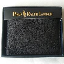 Mens Polo Ralph Lauren Black Pebbled Leather Bifold Passcase Wallet New 145 Photo