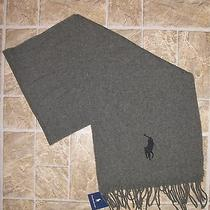 Mens Polo Ralph Lauren Gray Big Pony Lambs Wool Scarf New Photo