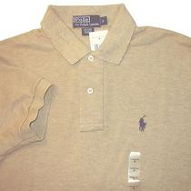 Mens Polo Ralph Lauren Heather Tan Mesh Polo Shirt S Rtl 85.00 Photo