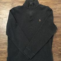 Mens Polo Ralph Lauren Quarter Zip Estate Rib Sweater - Size Large Navy Blue Photo