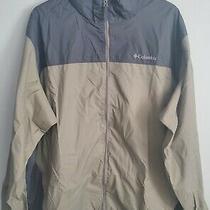 Mens Rain Jacket With Hideaway Hood Size Xxl Columbia Brown/gray Zipper Jacket  Photo