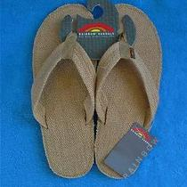 Mens Rainbow Poche Natural Burlap Surfer Style Flip Flops Sandals Small New Photo