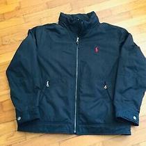 Mens Ralph Lauren Polo Coat Jacket Navy Lined Zip Away Hood Inside Pockets Sz L Photo
