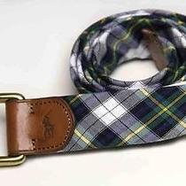 Mens Ralph Lauren Polo Plaid Belt Madras D-Ring Fabric & Leather Size M Photo
