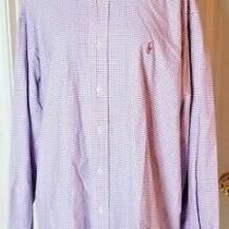 Mens Ralph Lauren Polo Size L Blue White Plaid Long Sleeve Cotton Logo Shirt Photo