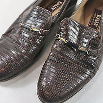 Mens Rare Bally Full Lizard Vintage Dress Loafers Brown 6 D Photo