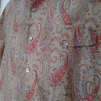 Mens Rare Vtg 80's Gucci Gray Paisley Mother Pearl Cotton Shirt Size 16.5 / 42 Photo