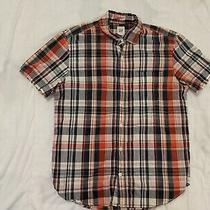Mens Red Plaid Button Down Short Sleeve Shirt Good Condition Medium Gap Photo
