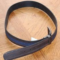 Mens Reversible Genuine Columbia Brown Leather & Blue Fabric  Belt   40   Photo