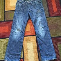 Mens Rock & Republic Bolt Straight Leg Distressed Dark Tinted Jeans Size 32x30 Photo