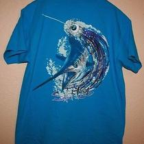 Mens Salt Life Pocket T-Shirt Size Large L Fish Ocean Blue Sea Fishing Boat Photo