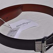 Mens Salvatore Ferragamo Black and Espresso Brown Leather Belt  Size 40   New Photo