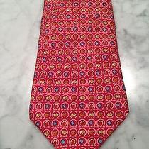Mens Salvatore Ferragamo Tie. Horse/clovers. Red. Photo