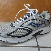 Mens Saucony Running Shoes Grid Cohesion Size 11.5 Silver / Blue Euc Photo