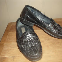 Mens Shoes 10 (9.5) Black Woven Leather Tassel Loafer Stacy Adams -Casual Dress Photo