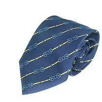 Mens Silk Neck Tie  by Hermes Navy  Horse Buckles and Belts  7211ua Necktie Photo