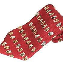 Mens Silk Neck Tie by Tommy Bahama Off Island Red With Beach Chairs 4 in X 58  Photo