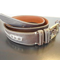 Mens Size 30 Cole Haan Belt Dark Brown W/ Tan Stitching 1 1/2