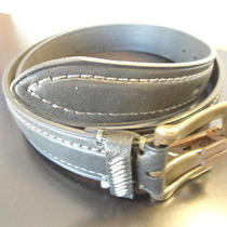 Mens Size 40 Cole Haan Belt Black W/ Gray Stitching 1 1/4