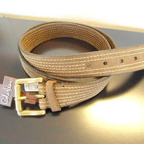 Mens Size 46 Cole Haan Belt Brown W/ Tan Stitching 1 1/2