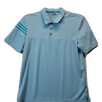 Mens Size Large Adidas Polo Golf Shirt Light Blue Short Sleeve Dri Fit Photo
