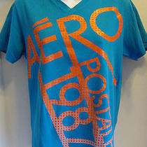 Mens Size Small Aeropostale Bue T Shirt Neon Orange Lettering Photo